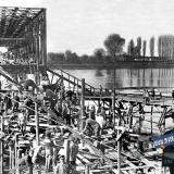 Екатеринодар. Востановление жд моста через реку Кубань.