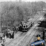 Краснодар. Вид на трамвайную остановку у перекрёстка улиц Сталина и Северной.