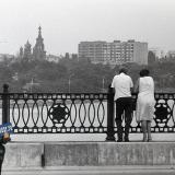 Краснодар. Вид на Свято-Троицкий собор с Тургеневского моста. 1987 год