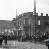 Краснодар. Угол улиц Красной и Свердлова, вид на юг. Февраль 1943 года