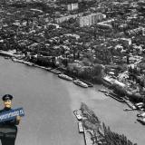 Краснодар. Вид на улицу Кубанонабережную с высоты птичьего полёта.