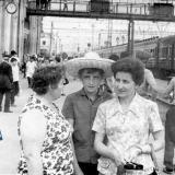 Краснодар. На пероне железнодорожного вокзала. 1973 год.