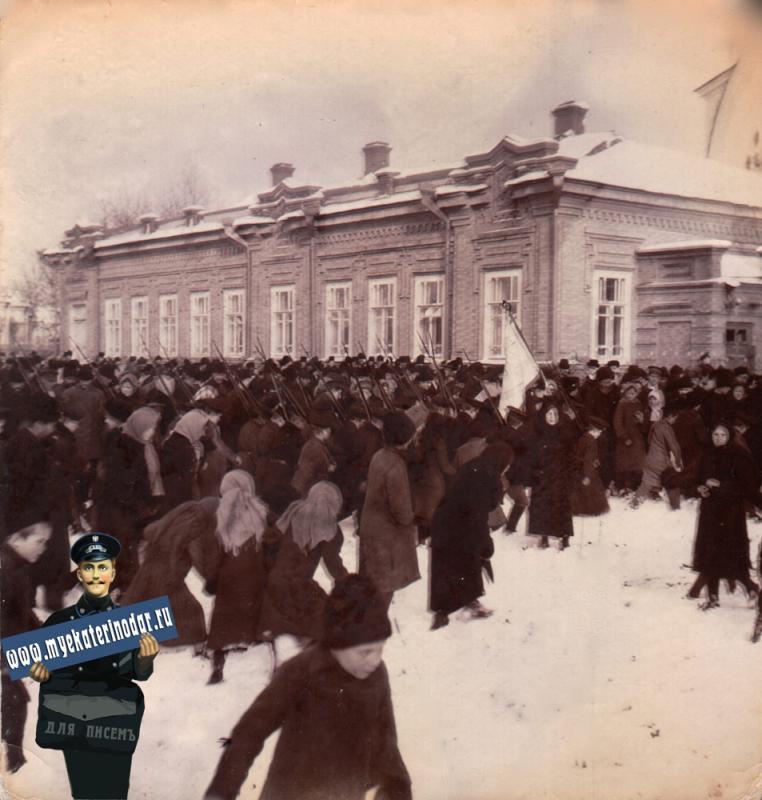 Ейск. Городская больница. Парад, 1914 год