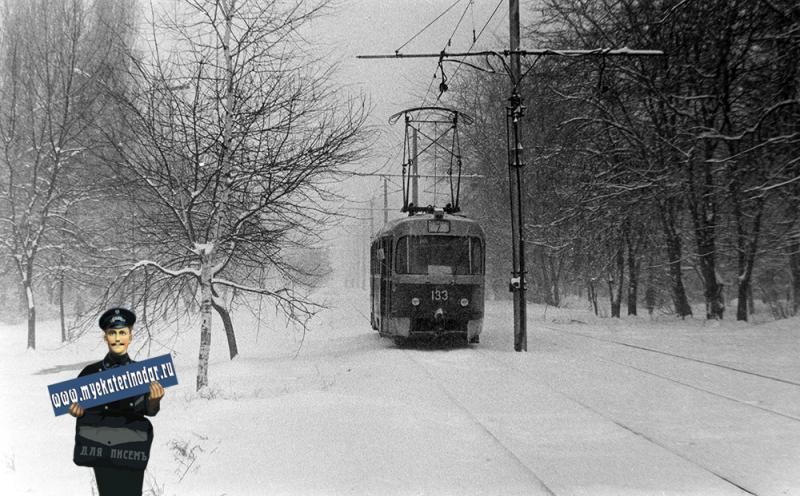 Краснодар. Трамвай Семёрочка на зимней улице Стасова.