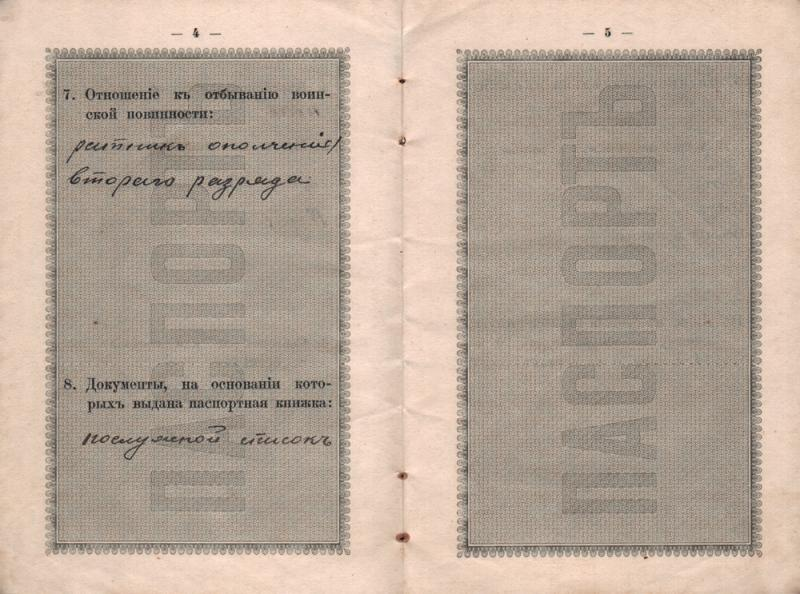 Екатеринодар. Паспорт Макарова Владимира Михайловича, 1915 год. Лист 4-5