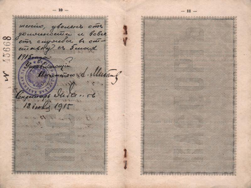 Екатеринодар. Паспорт Макарова Владимира Михайловича, 1915 год. Лист 10-11