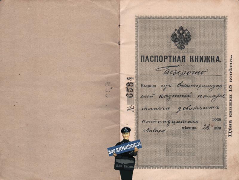 Екатеринодар. Паспорт Макарова Владимира Михайловича, 1915 год. Лист 1