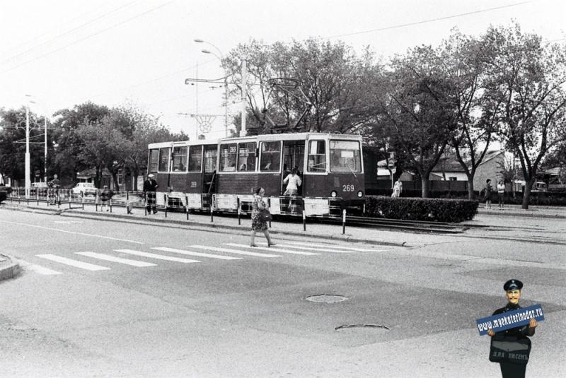 Краснодар. Трамвайная остановка на улице Карла Либкнехта , 1978 год.