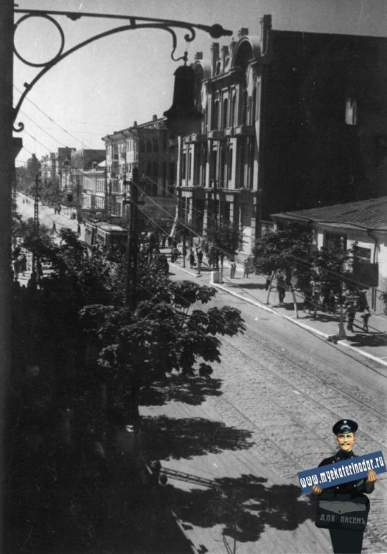 Краснодар. Вид на перекрёсток Улиц Красной и Пролетарской, вид юг, около 1948 года