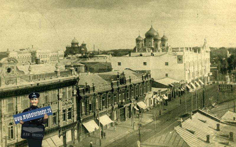 Екатеринодар. Вид города с балкона Зимнего театра, вид на юг, до 1917 года