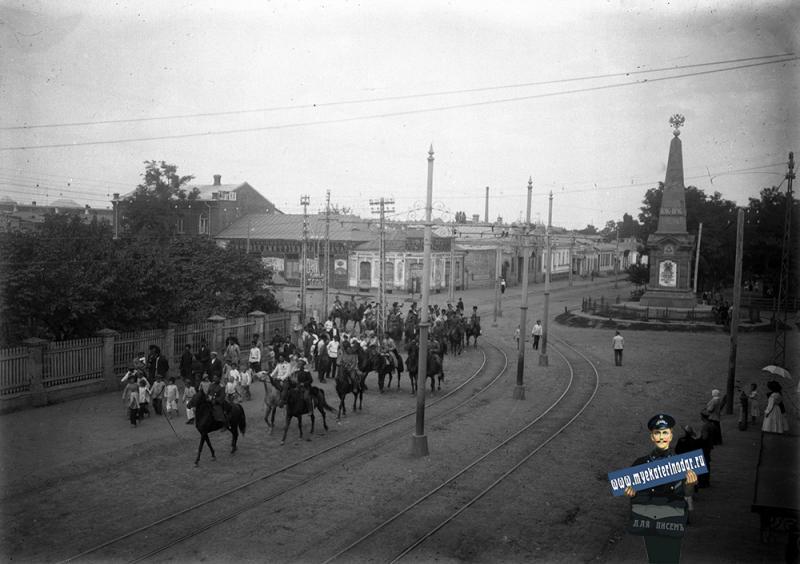 Екатеринодар. Вид на обелиск 200-летия ККВ, около 1910 года
