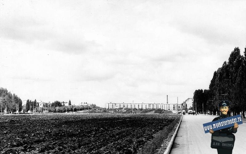 """Краснодар. Вид на перекрёсток улиц Красной и Светлой и на курган от стадиона """"Динамо"""""""