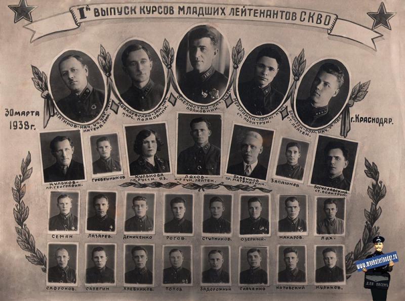 Краснодар. 1-й выпуск младших лейтенантов СКВО, 30 марта 1938 года