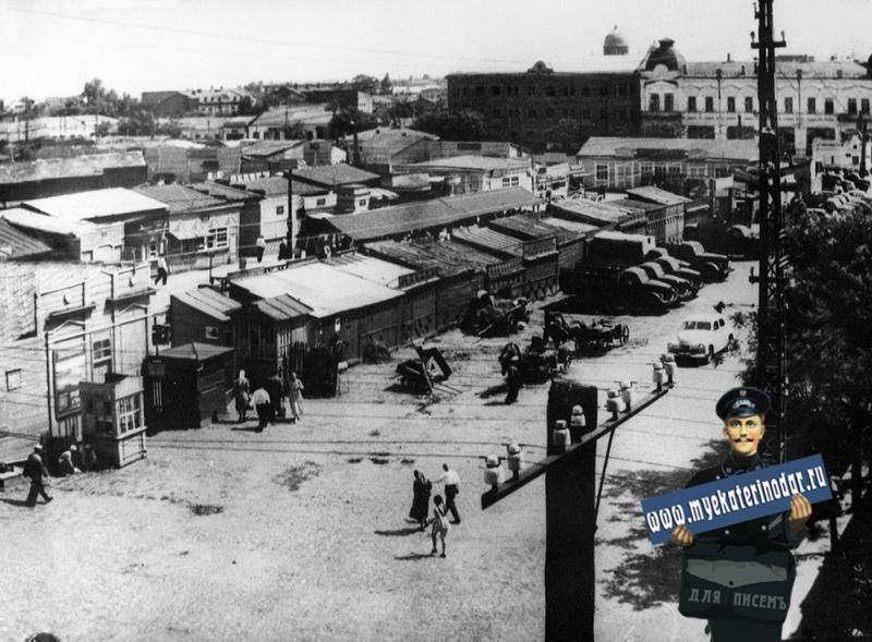 Краснодар. Новый рынок с перекрёстка улиц Красноармейской и Свердлова, вид на юго-восток.