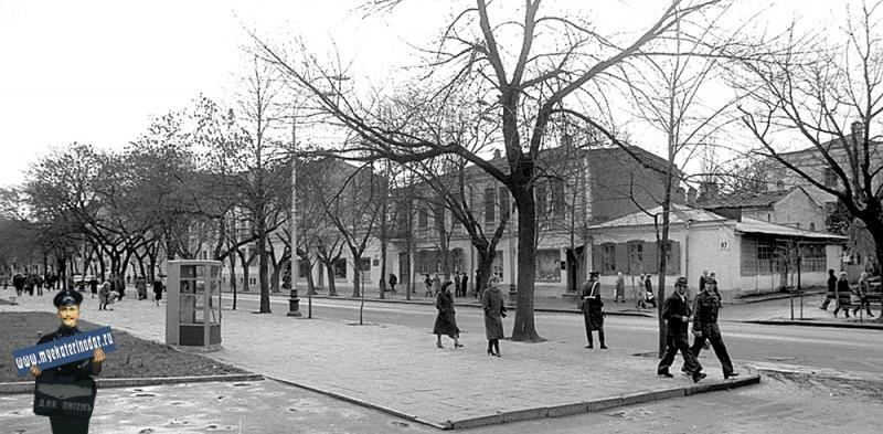 Краснодар. Красная, 97. Вид от улицы Клары Цеткин на юг. 05.12.1981 г.