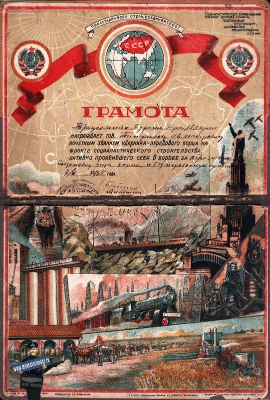 Краснодар. Лучшему ударнику 2-й пятилетки, 1935 год