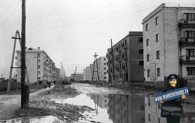 Краснодар. На улице Котовского. Вид на перекрёсток с Совхозной, 1964 год.