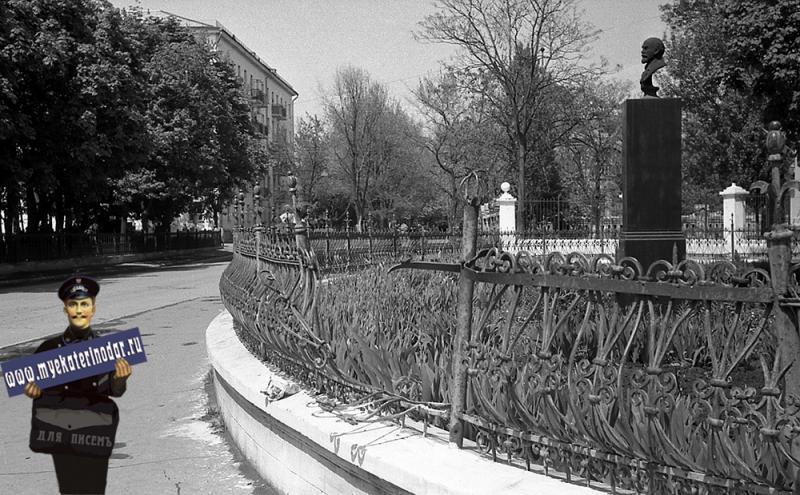 Краснодар. Бюст В.И. Ленина у СШ № 48, 1970-е годы.