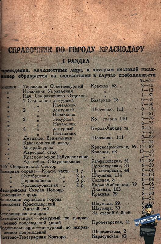 Краснодар. Справочник по городу Краснодару на 1933 год, лист 01