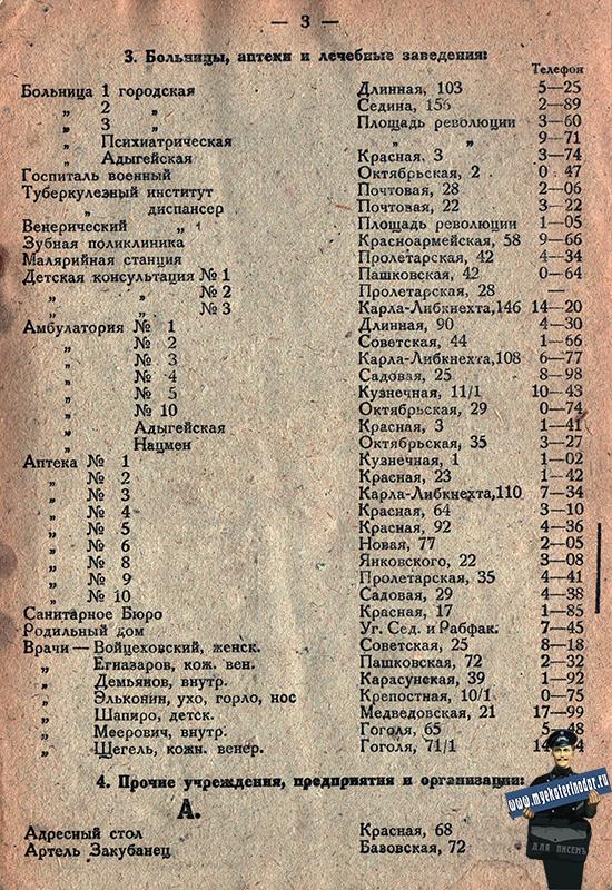 Краснодар. Справочник по городу Краснодару на 1933 год, лист 03