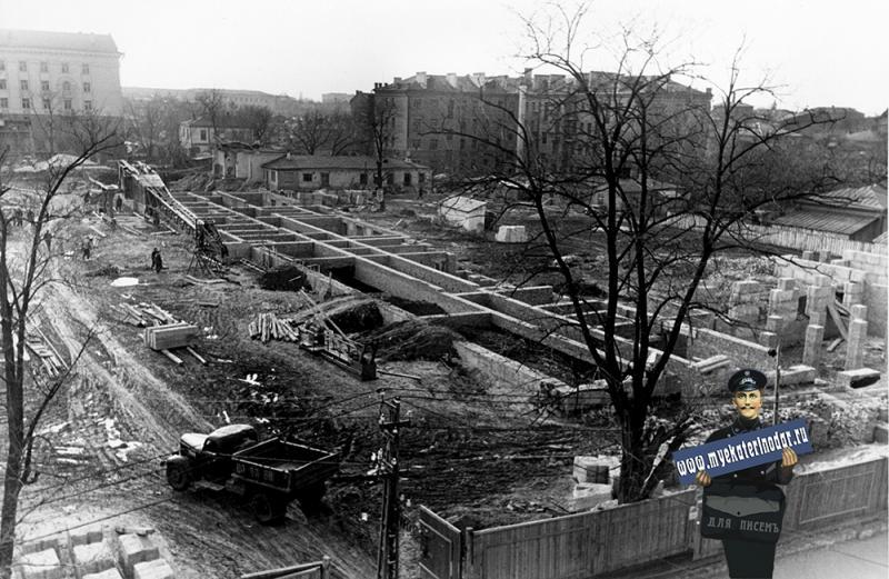 Краснодар. Строительство Дома Советов, 1957 год