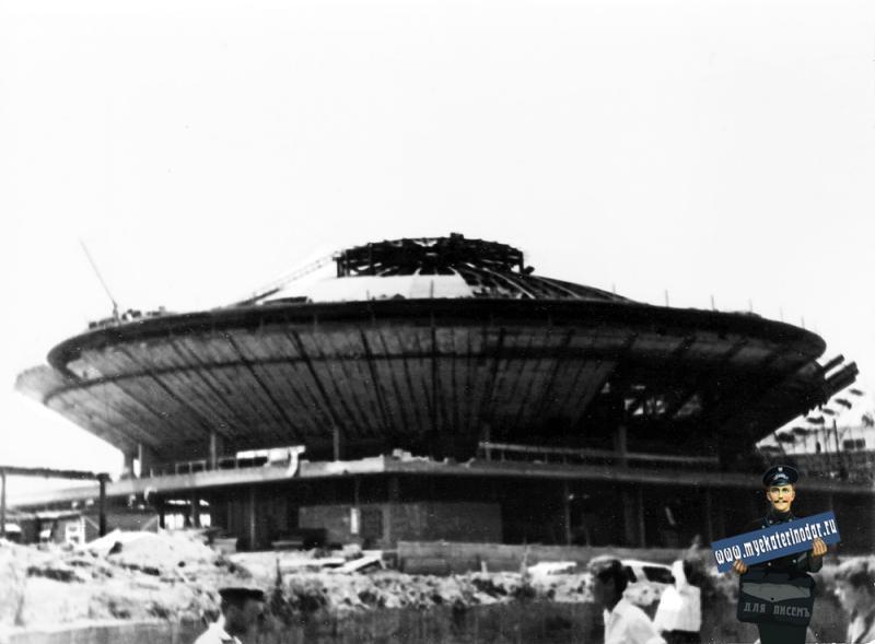 Краснодар. Строительство Краснодарского цирка. 10 июля 1969 года.
