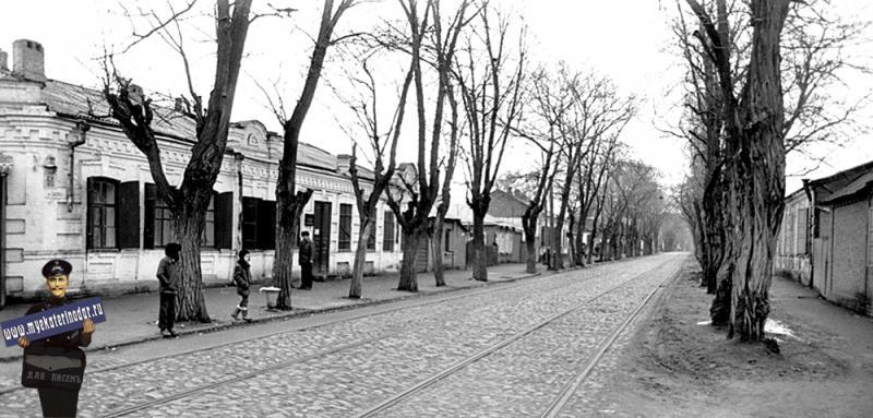 """Краснодар. Трамвайная остановка """"Улица Буденного"""". Вид на юг. 9 января 1983 года."""