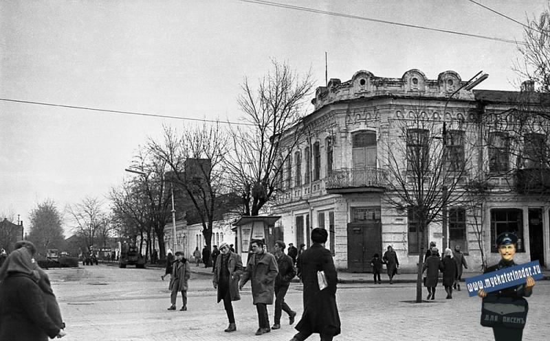 Краснодар. Угол улиц Красной и Буденного, вид на восток, 8 января 1967 год