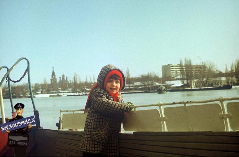 Краснодар. Вид с катера переправы, 1987 год