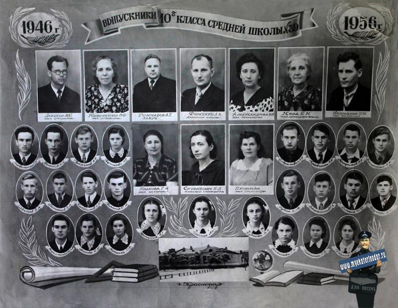 Краснодар. Выпуск 10 Б класса сш.№39, 1956 год