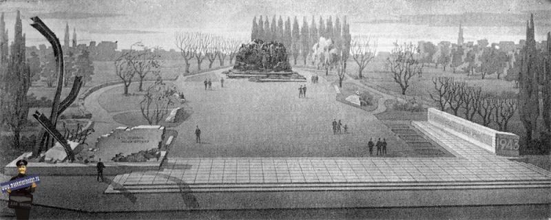 Проект памятника жертвам фашизма в Краснодаре. Второй вариант, 1969 год