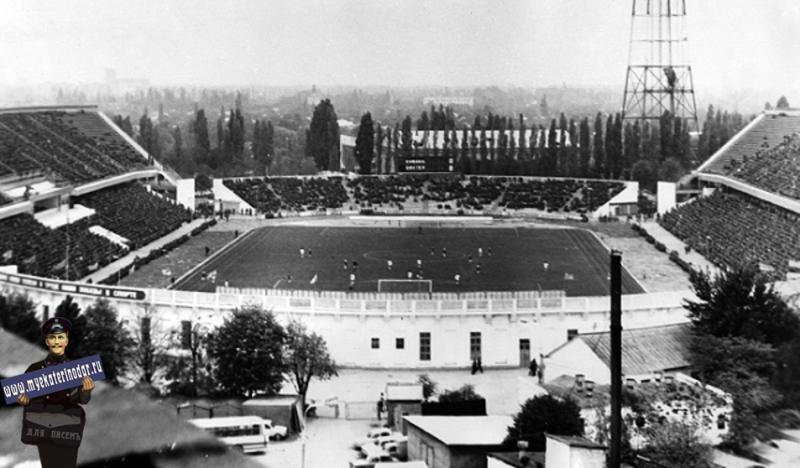 Краснодар. Стадион Кубань, вид на север, 1980 год.