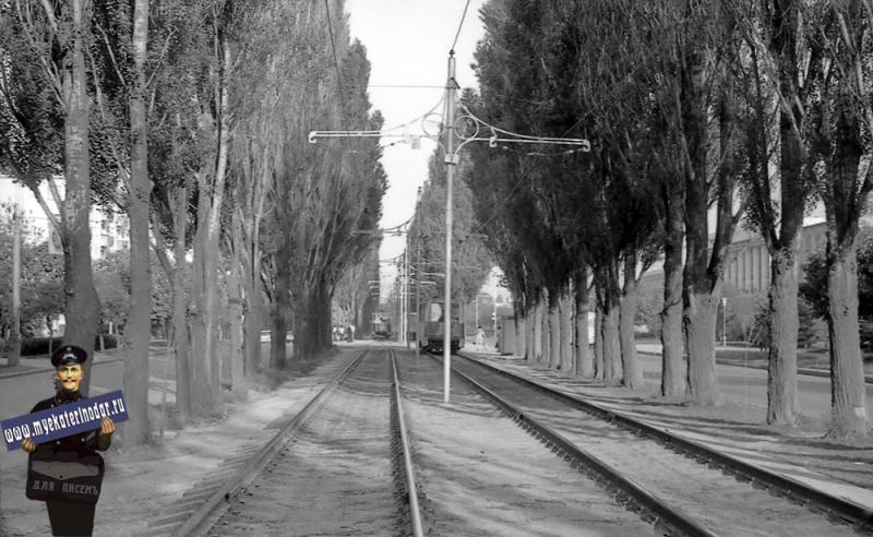 Краснодар. Трамвайные пути, 1980 год