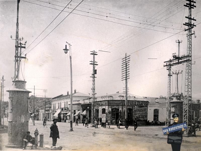Екатеринодар. Улица Красная, перекрёсток с улицей Гоголя, около 1910 года, вид на юг