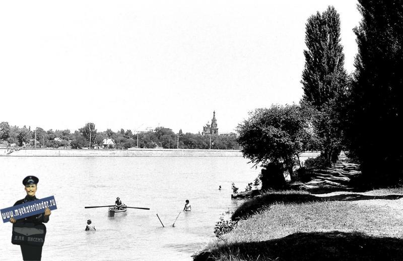 Вид на  Краснодар с левого берега Кубани, 1978 год.