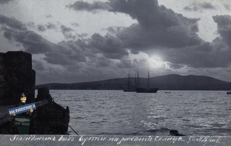 Геленджик. Общий вид бухты на закате Солнца, до 1917 года